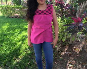 Traditional Mexican  pink Blouse of Manta