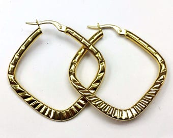 "18k solid yellow gold square hoop earrings(3.4gr/1.25""inch)"