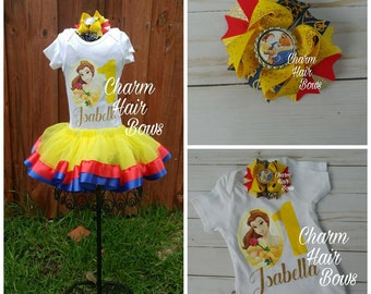 Beauty and the beast Belle ribbon trimmed tutu