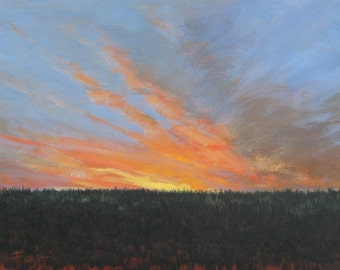 Sunset Painting- Original landscape painting on canvas- 18X24