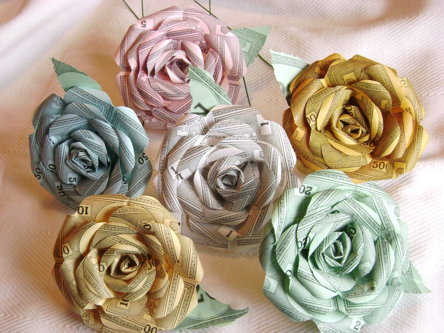Monopoly money paper rose 7 flower assortment recycled paper zoom mightylinksfo