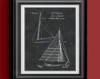 Sail and Rigging Patent Nautical Print Sailboat Artwork Sailor Wall Art Nautical Poster Nautical Decor Beach House Sailboat Decor PP 8907