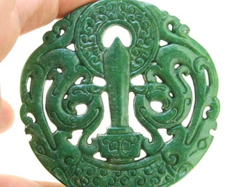 Carved chinese green jade pendantdouble side face carved sheep jade double face carved green jade rare ancient sacred animal old four dragons jade amulet talisman chinese jade carved pendant jade pendant 68mm aloadofball Images