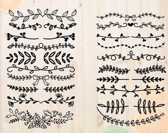 Leaf dividers Svg, Leaves divider Dxf, Decorative dividers Cutfiles, Border Svg, Cut files for Cricut & cutting machine, text divider vector