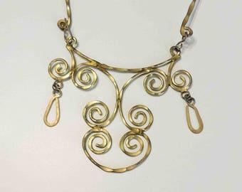 Vintage Brass Ornate Necklace