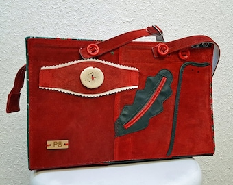Unique Red Leather Bag , Red Leather Shoulder Bag , Red Leather Women's Bag , German Girl's Leather Lederhosen Upcycled