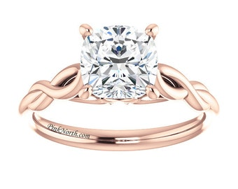14k Rose Gold Solitaire Engagement Ring - 1.70ct Cushion Cut Forever Brilliant Moissanite