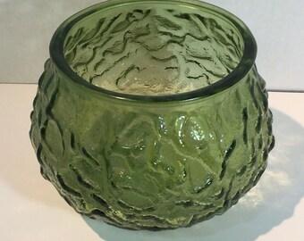 Vintage EO Brody Green Crinkle Textured Glass Candle Holder Planter Vase G 100