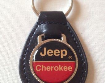 Jeep Cherokee Keychain Black Leather Key Chain