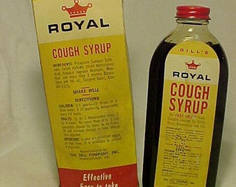 c1950s Dill's Royal Cough Syrup Manufactured By The Dill Company Norristown, PA., Full Paper Labeled Medicine Bottle