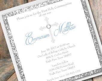 Communion Invitation Boy Communion Glitter Invitation Silver Glitter