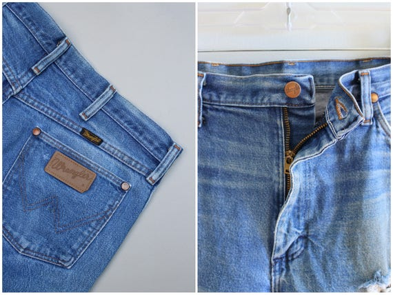 vintage 13MWZ Wrangler jeans - boyfriend jeans / Wrangler jeans - American denim / 1970s distressed jeans - USA - marked 35w x 30