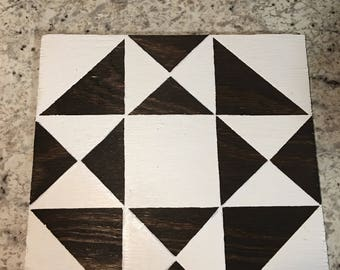 1'x1' Stained Wood Barn Quilt