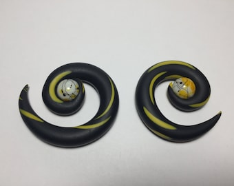 DISCONTINUED/FINAL CHANCE/Black and Yellow Spirals Plugs with Glass Beads/Splatter/Polymer Clay/Earrings/Gauge/Colorful/Bold/Statement