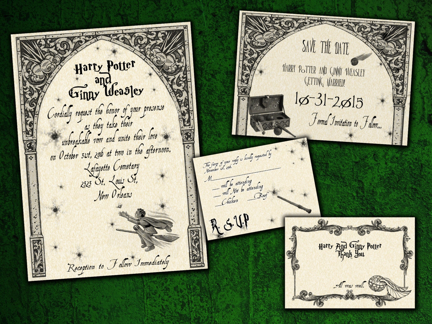 Harry Potter Quidditch Wedding Invitation Save the Date