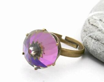Minecraft Gem Ring - Princess Crown Ring - Purple Swarovski Ring - Princess Ring - Bullet Ring