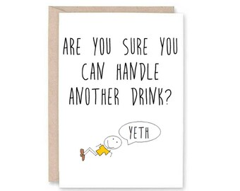 Funny Happy Birthday Greeting Card - adult birthday card, rude card, drunk birthday, booze birthday, wild one card, funny greeting card