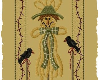 Primitive Machine Embroidery Design-Raffia Scarecrow--Version1--(5 x7)-INSTANT DOWNLOAD