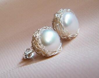 Crochet earrings, pearl stud earrings, sterling silver, bridal jewelry, birdesmaid earrings