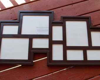 Collage Picture Frame - MULTI 10 Opening rustic pine collage picture frame ... java brown....HANDMADE