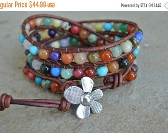 SALE 50% OFF JustHipStuff Gemstone  Beaded Leather Wrap Bracelet