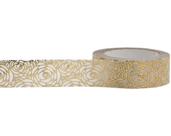 Gold Rose Decorative Tape • Little B Foil Tape • Gold Rose Washi Tape • Craft Supply • Gold Rose Tape • Rose Washi Tape (100561)