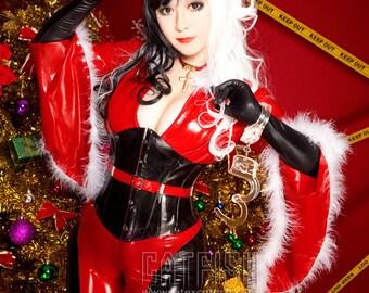 Xmas Christman Santa Claus Catsuit / sexy woman latex catsuit