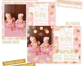 2nd birthday invitation blush pink mint gold glitter twins first birthday invitations twin girls 1st birthday photo invites big one birthday invites filmwisefo Gallery