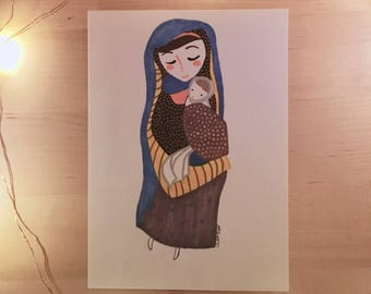 Mary and Baby Jesus Nativity Art, 5X7 Print (Custom Originals Available)
