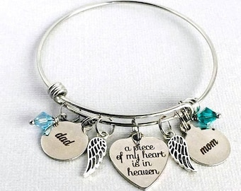 DAD and MOM Memorial Bangle, A Piece of My Heart is in Heaven, Loss of Parents, Mom and Dad Remembrance Bracelet, Sympathy Gift