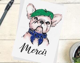 Frenchie chien Merci Merci carte - Bulldog drôle, mignon, imprimé, Simple, animaux de compagnie, Français, Merci, béret, dessin