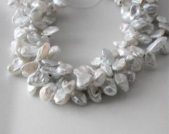 Silver Keshi Pearl Light Gray Keshi Pearl Petal Pearls Top Drilled Keshi Grey Keshi Pearls Cornflake Pearl Gray 12-14mm Full Strand KP21