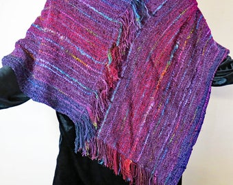 PONCHO Handwoven, wine with highlights of a rainbow of colors.  All Seasons.