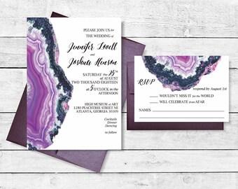 Geode Achat-Kristall-Einladung