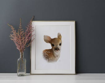 Deer Print - Baby Animal Prints - Forest Nursery Print - Woodland Nursery - Fawn Nursery Art - Wall Art for Kids Woodland themed baby Shower