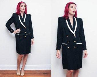 Vintage 80s MILITARY dress // size 12 black large collar COAT dress // Danny & Nicole gold button detail power woman