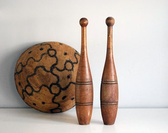 Wooden Indian Clubs, Antique Exercise Weight, 1900s Juggling Pins, Rustic Decor, Primitive Cottage Cabin, Turned Wood Meel, Sports Equipment