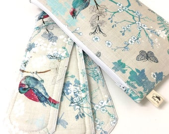 Cloth menstrual pads. Birds pack x1 Wet bag x1 Heavy x1 Regular x1 Light panty liner. Natural Girl.