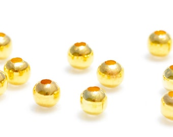 100 Gold Plated 4mm Round Beads BD101