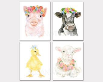 Watercolor Farm Animals with Floral Crowns Art Print Set of 4 Nursery Childrens Room Pig Cow Duckling Lamb PORTRAIT-Vertical Orientation