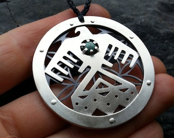 Large Standing Rock Water Protector Flower of Life Pendant - sterling silver and turquoise