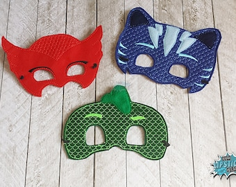 Night time Inspired Super Hero Masks, PJ, Owl, Cat, Gecko, Gekko, Red, Blue, Green, Boy, Girl