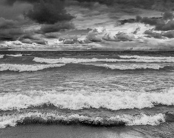 Waves in Sturgeon Bay crashing on the Sandy Beach at the Lake Michigan Shore by Wilderness Park in Michigan No.BW0036 A Seascape Photograph