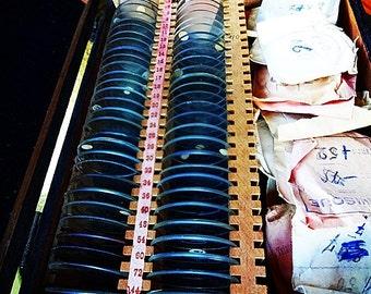 Vintage Optical Lens Box Set:Optometrist Set of Optician Lenses, 80 + Spectacle Test Lenses, Steampunk, Jewelry, Art, Assemblage, SALE