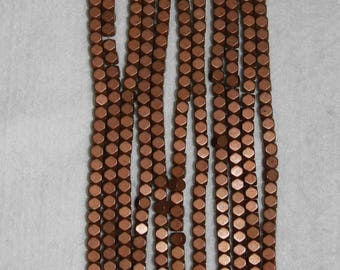 Hematite, Titanium Hematite, Hexagon Bead, Faceted Bead, Bronze Titanium, Full Strand, 4 mm, AdrianasBeads