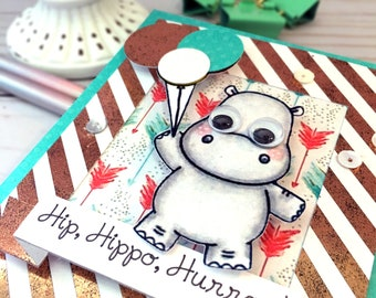 Hippo Celebration Greeting Card - Congratulations Card - Handmade Greeting Card for a Birthday, New Job, New Baby, or Anniversary