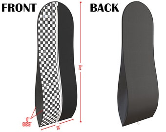 """Black and White Gusseted Gown Garment Bag  - Travel Folding Loop, ID Window- 72"""" x 24"""" with 10"""" Tapered Gusset..."""