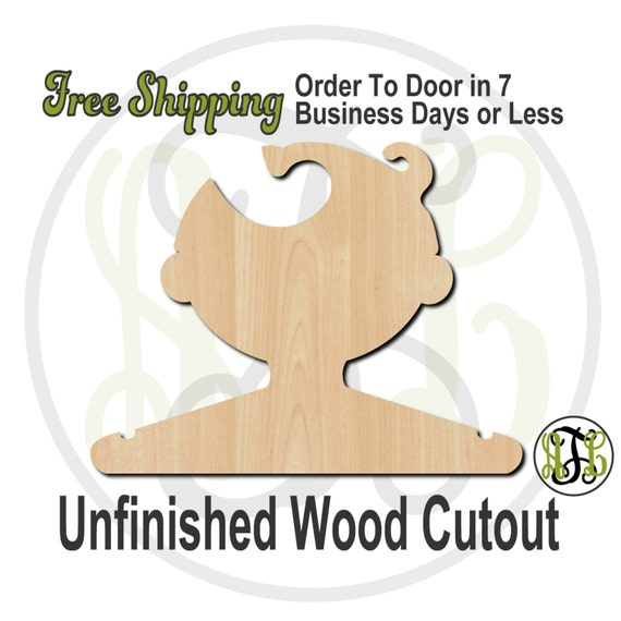 Boy Parted Closet Hanger - Adult or Child Size Cutout, unfinished, wood cutout, wood craft, laser cut, wood cut out, DIY, Free Shipping