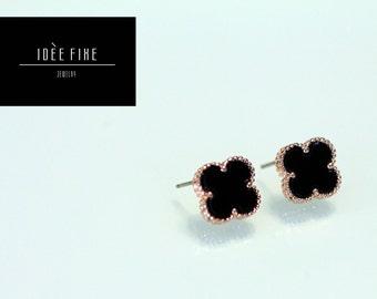 Black Clover Stud Earring