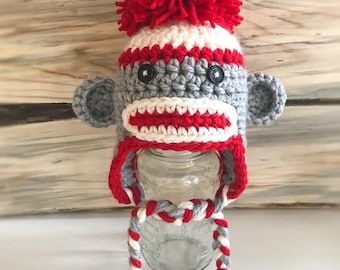Newborn Sock Monkey Hat